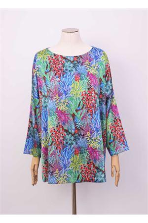 Silk sweater with long  sleeve Laboratorio Capri | 8 | MAXITSHIRTFOGLIEMULTI
