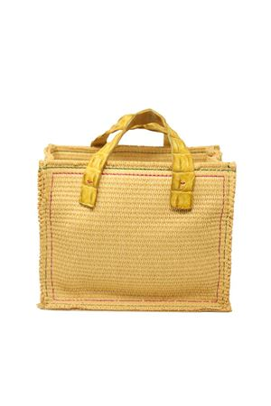 raffia bag with yellow crocodile handles  Laboratorio Capri | 31 | NEW GRETAGIALLO