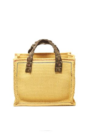 Raffia bag with grey crocodile handles  Laboratorio Capri | 31 | NEW GRETATORTORA