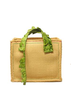 Raffia bag with crocodrile green handles Laboratorio Capri | 31 | NEW GRETAVERDE PRATO