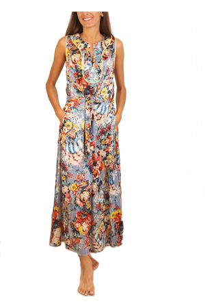 Long silk dress with stripes and flowers pattern  Laboratorio Capri | 5032262 | NEWGAROFANOBLUFARFALLE
