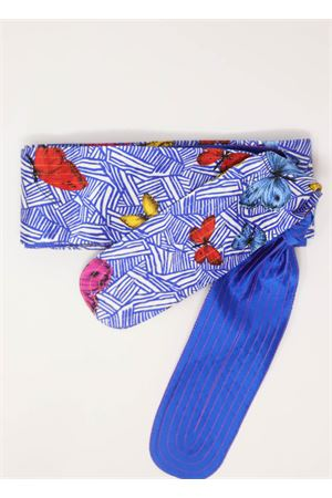 Silk obi belt with butterflies  Laboratorio Capri | 22 | OBIFARFALLEBLU