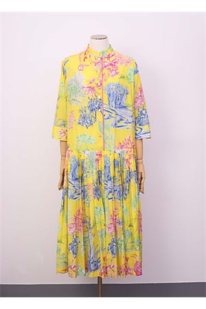 Long cottona and silk dress Laboratorio Capri | 5032262 | ORCHIDEACACTUSGIALLO