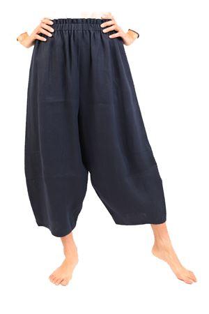pantaloni alla caviglia in lino blu Laboratorio Capri | 9 | OSLO.BLU