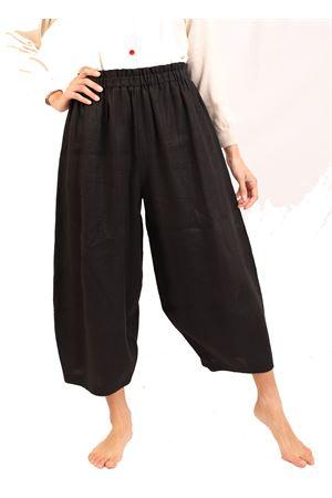 pantaloni alla caviglia in lino nero Laboratorio Capri | 9 | OSLO.NERO