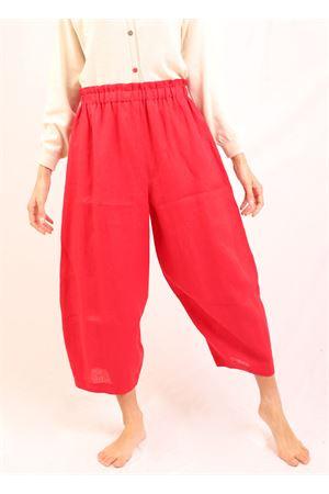 ankle-length red linen trousers Laboratorio Capri | 9 | OSLOROSSO