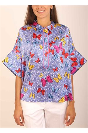 Blue butterflies pattern pure silk t-shirt  Laboratorio Capri | 8 | PANSEFARFALLEBLU