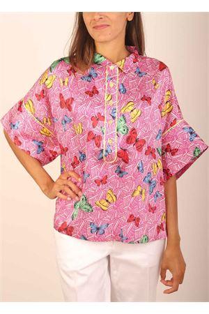 Butterflies pattern pure silk t-shirt Laboratorio Capri | 8 | PANSEFARFALLEFUXIA
