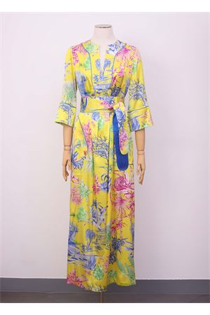 Long silk dress with cactus pattern  Laboratorio Capri | 5032262 | PETALOCACTUSGIALLO