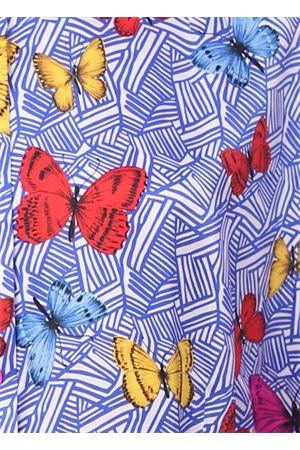 abito caftano in seta con farfalle Laboratorio Capri | 5032262 | PETALOFARFALLEBLU