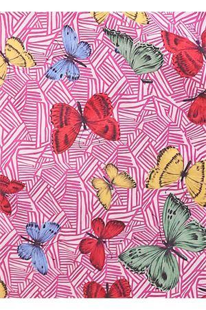 abito caftano in seta stretch con farfalle Laboratorio Capri | 5032262 | PETALOFARFALLEFUXIA