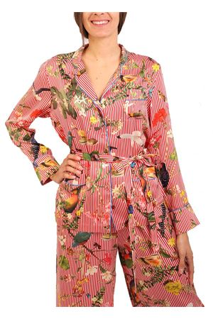 Pajama-style shirt with tropicapri pattern in silk Laboratorio Capri | 6 | PIGIAMATROPICAPRIROSSO