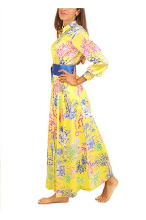 Long silk dress with floral pattern and yellow basis  Laboratorio Capri | 5032262 | QUISI/CACTUSGIALLO