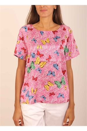 Fuchsia silk t-shirt with butterflies pattern  Laboratorio Capri | 8 | ROSYFARFALLEFUXIA