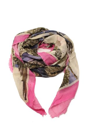 Pink scarf with antique Capri postcards Laboratorio Capri | 77 | S140-130MULTICARTROSA