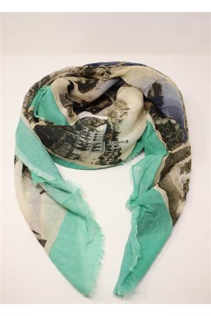 •Green scarf with antique Capri postcards Laboratorio Capri | 77 | S140-130MULTICARTVERDE
