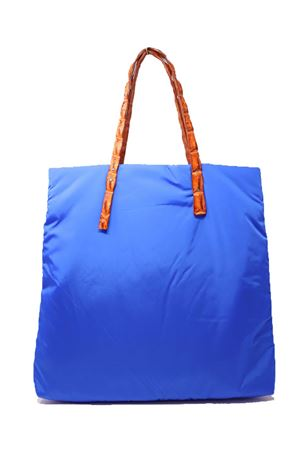 Blue shopper bag with crocodile leather handles Laboratorio Capri | 31 | SANTA MARIABLUETTEARANCIO