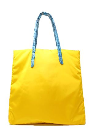 yellow shopper bag with crocodile leather handles Laboratorio Capri | 31 | SANTA MARIAGIALLOAZZURRO
