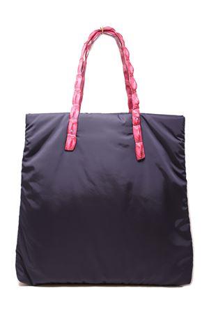 Crocodile fuchsia handles shopper bag Laboratorio Capri | 31 | SANTA MARIANAVYFUCSIA