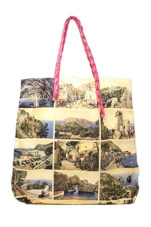 shopper con manici in coccodrillo e stampa di antiche cartoline di capri Laboratorio Capri | 31 | SANTAMARIACARTOLINEFUCSIA
