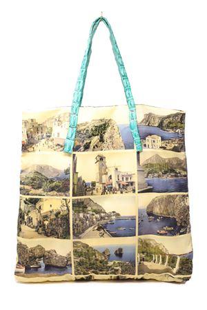 shopper con manici in coccodrillo e stampa di antiche cartoline di capri Laboratorio Capri | 31 | SANTAMARIACARTOLINETURCHESE