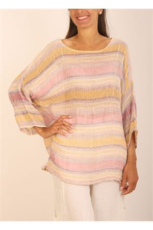 Pure linen t-shirt with stripes Linomania | 5032233 | CASACCALINOMULTI