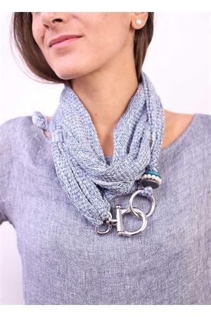 Denim color linen scarf  Linomania | 77 | LINOSCARFBLUDENIM
