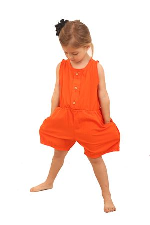 Tuta da bambina in cotone color arancio Little creative factory | 19 | LCF116ARANCIO