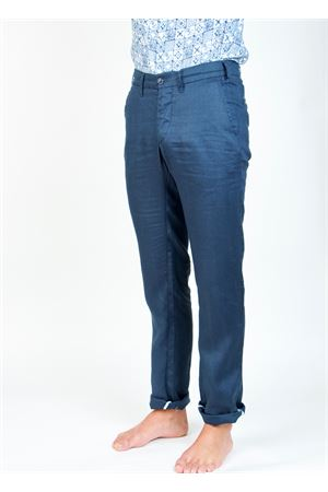 Pantalone uomo in lino blu Ganesh | 9 | GU164MBLU