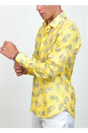 Yellow linen shirt with cashmere pattern  Ml. Delauziers | 6 | TC334PRASLEY