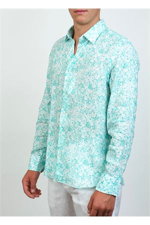 Green flowers pattern shirt in linen  Ml. Delauziers | 6 | TC336FIORIVERDI