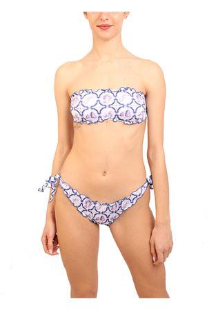 Bandeau swimsuit majoilca pattern Aram Capri | 85 | ACFR440BIANCO