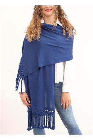 Stola blu in lana con frange Art Tricot | 61 | STOLAFRANGIABLU