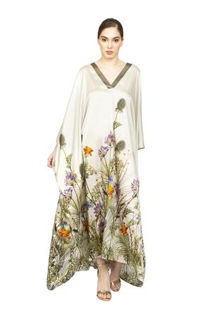 Silk caftan with floral pattern Blanche Capri Couture | 5032262 | ABITOTAYLABIANCO
