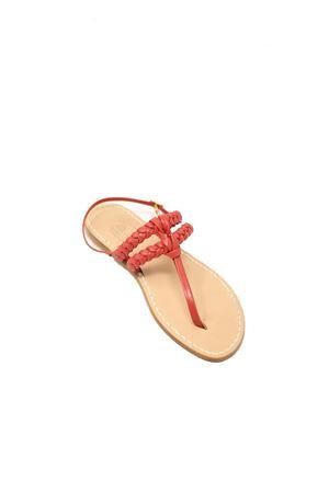 Coral-colored Capri sandals with double braid Cuccurullo | 5032256 | DOPPIATRECCIANODOCORAL