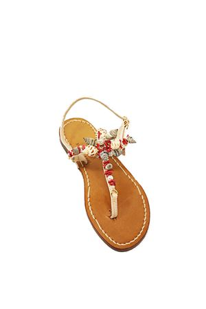 sandali capresi con applicazione di conchiglie Cuccurullo | 5032256 | SANDALICONCHIGLIEROSSO