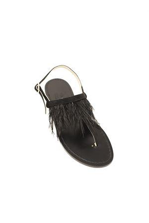 sandali bassi con piume Cuccurullo | 5032256 | SANDALICONPIUMENERO