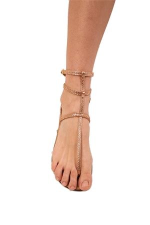 High ankle pink Capri sandals Da Costanzo | 5032256 | 3CINTURINIVIPERINAOROROSA