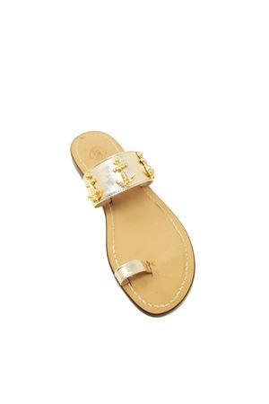 Platinum Capri sandals with application of gold anchors Da Costanzo | 5032256 | ANCORESANDALIORO