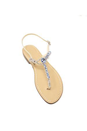 Light blue jewel capri sandals  Da Costanzo | 5032256 | BOTTONEGIOIELLOARGCELESTE