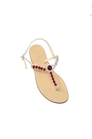Jewel Capri sandals  Da Costanzo | 5032256 | BOTTONEGIOIELLOROSSOARGENTO