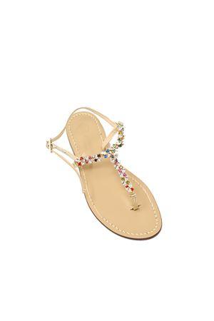 Flat  colored jewel sandals Da Costanzo | 5032256 | GIOIELLIOVALIMULTICOLORE