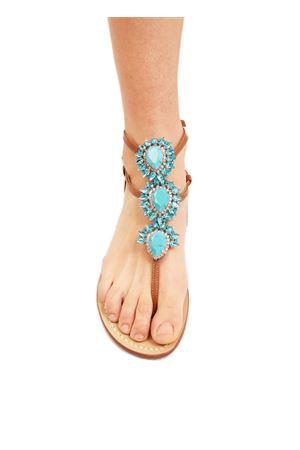 sandali alti alla caviglia gcon goiello turchese Da Costanzo | 5032256 | GIOIELLOALTOAZZURRO