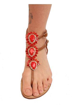 sandali gioiello alti alla caviglia cuoio e rossi Da Costanzo | 5032256 | GIOIELLOALTOROSSO