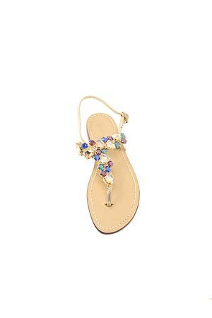 Capri style jewel sandals for women Da Costanzo | 5032256 | MULTISTONESGOLDBLUE
