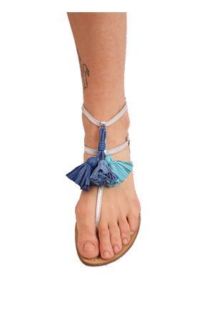 sandali in pelle con nappine turchesi Da Costanzo | 5032256 | NAPPINEALTOARGTURCH