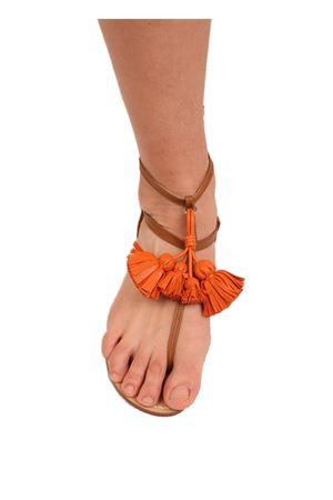leather sandals with orange tassels Da Costanzo | 5032256 | NAPPINEALTOCUOIOARANCIONE