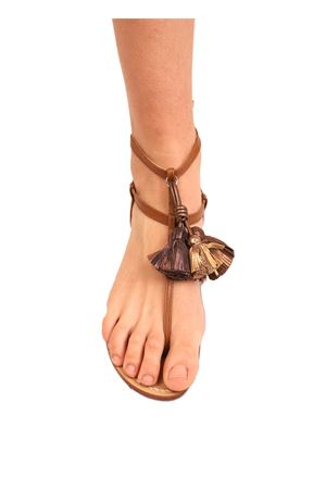 leather sandals with bronze tassels Da Costanzo | 5032256 | NAPPINEALTOCUOIOBRONZO