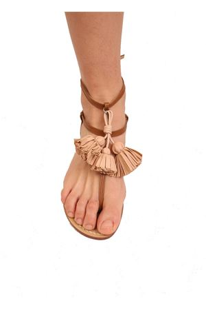 Leather sandals with brown tassels Da Costanzo | 5032256 | NAPPINEALTOCUOIONATURALE