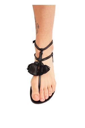 Leather sandals with black tassels Da Costanzo | 5032256 | NAPPINEALTONERONERO
